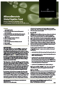AllianceBernstein product disclosure statement